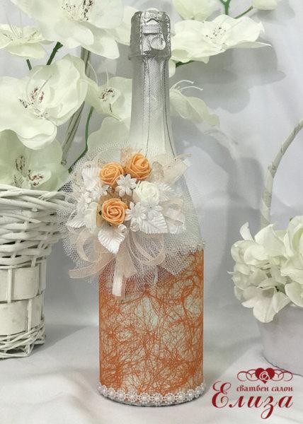 Украсено сватбено шампанско в праскова 23